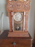 Ingraham Shelf Kitchen Clock Pressed Oak Ocean Series Working Chiming c1900