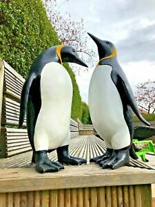Large resin penguin set - Garden ornament  penguins - garden or home decoration