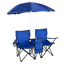 Portable Outdoor Hiking Beach Fishing 2-Seat Folding Chair with Sun Umbrella US