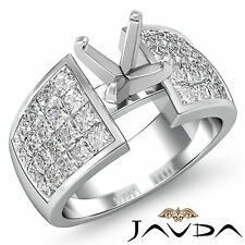 Round Diamond Engagement Women Ring 1.74Ct 18k White Gold Invisible Semi Mount