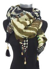 Dreieckstuch schwarz braun natur oliv grün Ella Jonte breites Tuch Ethno Style