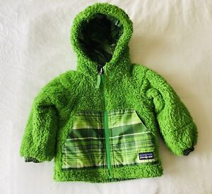 Patagonia Tribbles Reversible Fleece Puffer Jacket Size 3 - 6 Months Boys Hooded
