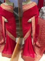 Saree Red Silk Banarasi Sari Indian Designer Wear Wedding Bollywood Blouse Wear