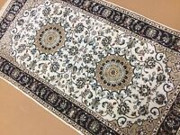 """2'.2"""" X 4'.2"""" Ivory Blue Fine Floral Oriental Area Rug Hand Knotted Wool & Silk"""