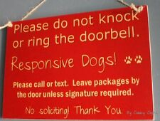 Red Do Not Knock Protective Responsive Dogs Welcome Warning Sign No Soliciting