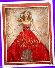 Mattel HOLIDAY BARBIE DOLL 2014 Collector Red Gold Dress White BLONDE Blond Girl