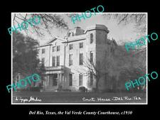OLD LARGE HISTORIC PHOTO OF DEL RIO TEXAS, VAL VERDE COUNTY COURT HOUSE c1930