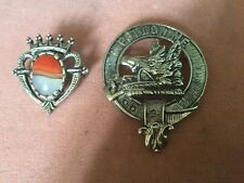 Miracle Shield And Crown Red & Grey Agate Brooch & Scottish Follow Me Fox Brooch