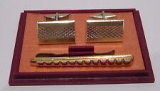 VINTAGE NOS BEAUTIFUL RUSSIAN MEN'S CUFF LINKS & TIE CLIP PIN WITH ORG.BOX # 37A