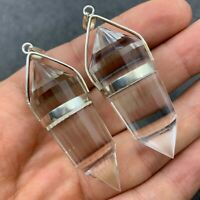 1 Pcs Vogel Style 24 Sided Natural Clear Quartz Crystal Silver Pendant Healing