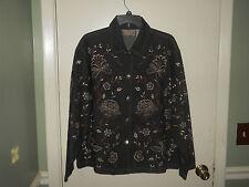 New Directions Ladies Denim Jacket Size Medium Black/Gray Wash Floral Design NWT