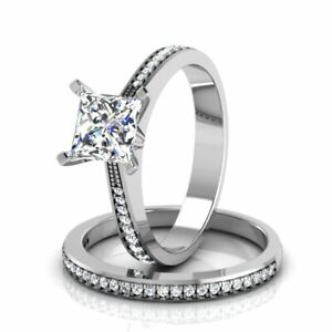 Solid 14KT White Gold Round 1.50 Carat Solitaire Engagement Ring with Band 5 6 7