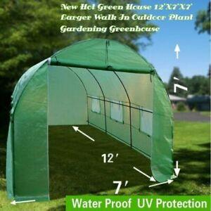 12'x7'x7' Walk-In Walk-In GREEN HOUSE Plant Gardening Greenhouse Steel Portable