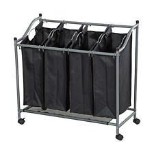 More details for 4 bag laundry sorter cart hamper rolling organizer clothes bin basket on wheels