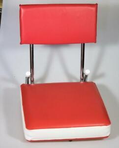 K. R. Industries Folding Stadium Boat Chair Seat Metal Vinyl Red & White