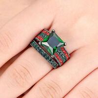 USA Black Gold Platinum Plated Emerald Wedding Engagement Pair Ring Size 6