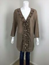 WITCHERY Taupe Fine Cotton Ruffled Front Longline Tunic Shirt Top Dress Size M