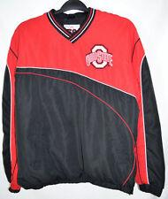Ohio State Pullover Jacket Red/Black Lined V-Neck Side 1/2 Zip Men's Medium