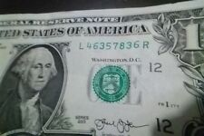 "ONE DOLLAR  BILL (fancy Serial Number) RAISED/STUCK DIGIT HIGH 6"" ERROR NOTE"