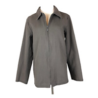 Eileen Fisher Size L Full Zip Jacket Pockets Grey-Brown Cotton
