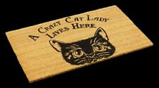 drôle PAILLASSON AVEC CHATS - Fou CHAT LADY - Noix de coco paillasson Cat Lady