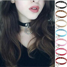 Women Hot Fashion Punk Chocker Alloy O Ring Leather Collar Charm Button Necklace