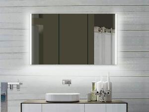 Alu Badezimmerspiegelschrank mit LED Beleuchtung und Steckdose von 60-160 Breite