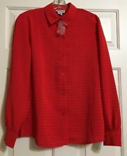 NWT Women's Apparenza size S red long sleeve button down top career