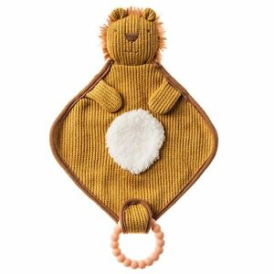 Mary Meyer Knitted Nursery Lovey with Silicone Teether, 10-Inches, Lion