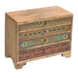 Hand Painted 4 Drawer Mini Chest of Drawers Fair Trade Mango Wood Made in India