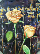 """Cynthia Ligeros Abstract Oil Painting """"Autumn Roses"""""""