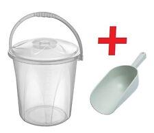Large 20 Litre Clear Plastic Bucket Kitchen Flour Food Spice Storage + SCOOP #BE