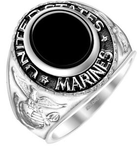 Men's 0.925 Sterling Silver US Marine Corps Military Solid Back Ring