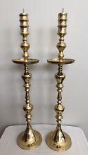 "2 Vintage Tall Brass Floor Candlestick Holders 36"" Altar Church Temple Wedding"