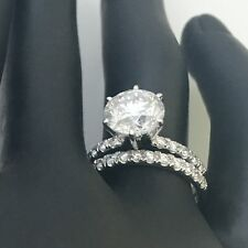 BAND SET DIAMOND RING 18K WHITE GOLD APPRAISED MARRIAGE 2.25 CT SIZE 5.5 6.5 7.5