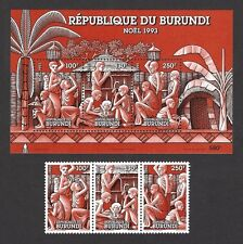 Burundi 1993 Christmas strip & S/S MNH