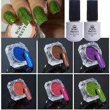 8Pcs Nail Glitter Powder Holographic No-wipe Topcoat Base Coat UV Gel Polish Set