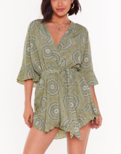 Nasty Gal Wrap Paisley Playsuit Sage Green BNWT Size UK 8