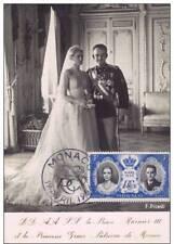 PC 1956 Royalty Monaco princess GRACE KELLY - Wedding Dress ~real stamps~ #blue
