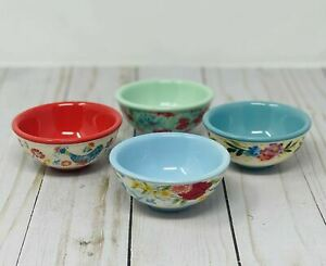 """4 pc Set Pioneer Woman Stoneware Dip Bowls Dipping 3.1"""" Unique And Gorgeous Set"""