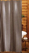 Primitive Country Heritage House Black Check Shower Curtain 72X72 Cotton