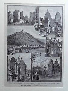 Odenwald, Breuberg und Schloß - 8 Ansichten - Stich, Holzstich - Goebel um 1885