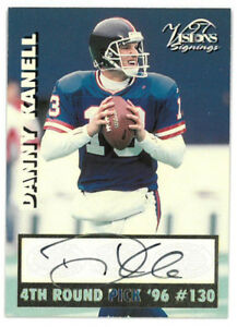 Danny Kanell signed 1996 Draft Pick Vision Signings Football Card (Giants)