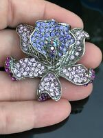 Orchid Flower Vintage Clear and Purple Crystals Silver Pin Brooch D-3095