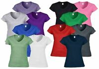 Gildan Ladies Ladies' Soft Style Plain V-Neck T-Shirts 100% Cotton