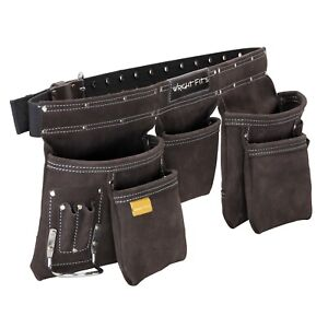 WrightFits Leather Tool Belt Apron Multi Pocket Tool Belt Pouch With Hammer Loop