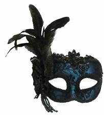 Adult Masquerade Ball Feather Face Eye Mask On Headband Fancy Dress Accessory