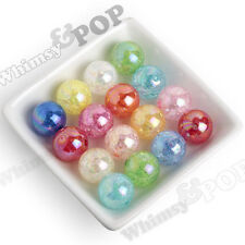 20mm Beads 12pcs Mixed Color Crackle AB Ice Cube Chunky Round Gumball Bubblegum