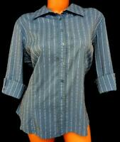 Apt. 9 blue gray striped 3/4 sleeves stretch plus size buttoned down top 1X
