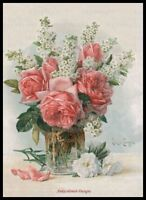 Vase with Pink Roses - DIY Chart Counted Cross Stitch Patterns Needleworks